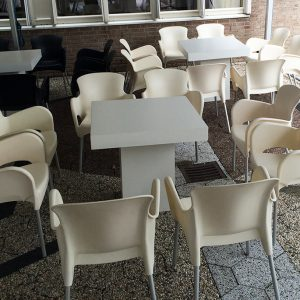 Tafel strak wit Lounge 80 x 80 x 75 cm Lydison Verhuur