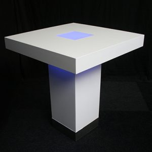 Statafel 100 x 100 cm Lounge Wit met LED Lydison Verhuur