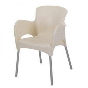 Lounge stoel creme stapelbaar met aluminium poot Lydison Verhuur