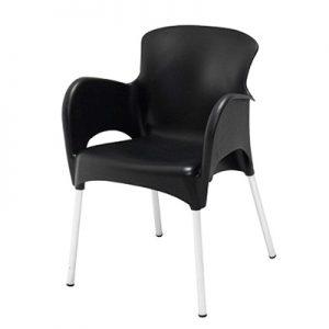 Lounge Stoel Zwart Stapelbaar met Aluminium Poot Lydison Verhuur