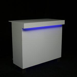 Voorzetbar Lounge 130 x 70 cm Wit met LED verlichting MODULAIR Lydison Verhuur
