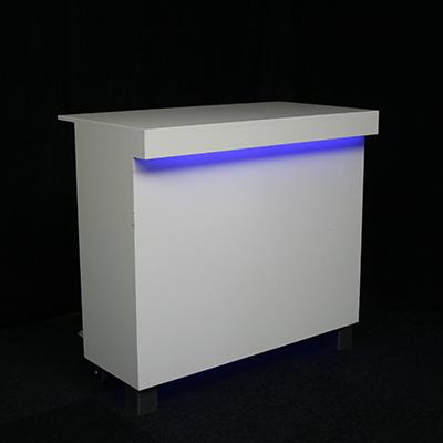 Voorzetbar Lounge met 1 x Koeling 130 x 70 meter Wit met LED verlichting MODULAIR Lydison Verhuur