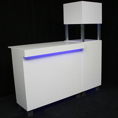 Voorzetbar 1 deel met LED verlichting en 1 zuil met LED verlichting  MODULAIR Lydison Verhuur