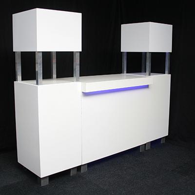 Voorzetbar 1 deel met LED verlichting en 2 zuilen met LED verlichting MODULAIR Lydison Verhuur
