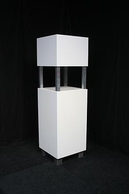 Voorzetbar Zuil Lounge 60 x 60 x 210 cm Wit met LED verlichting MODULAIR Lydison Verhuur