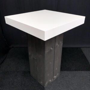 Statafel-BONN-80-x-80-cm-Steigerhout-Zwart-Wit-Lydison-Verhuur